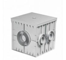 Коробка подземная пластиковая КПП-Р 400х400х400, глухая крышка серая
